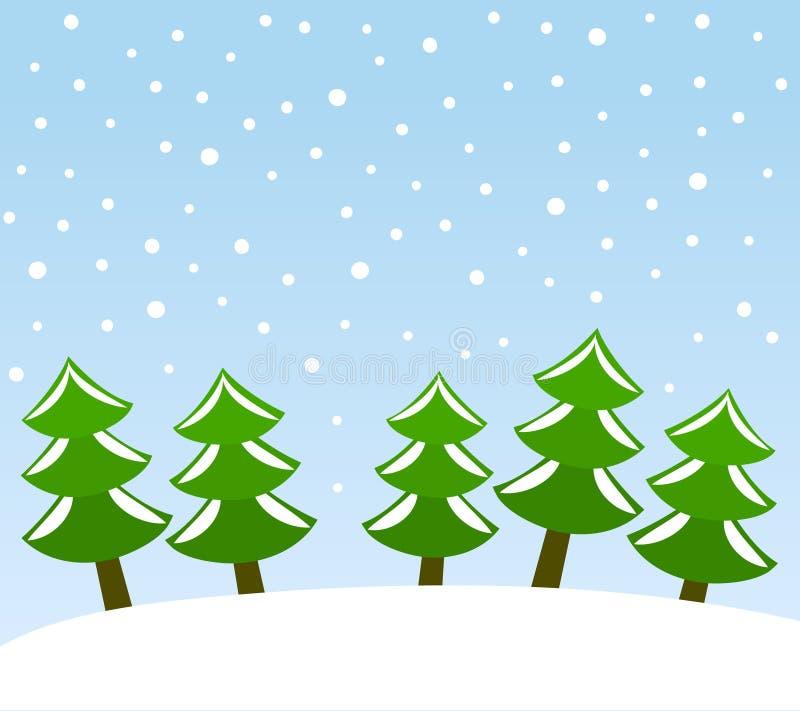 Árboles de navidad verdes debajo del bosque del día de fiesta de la nieve, vector stock de ilustración