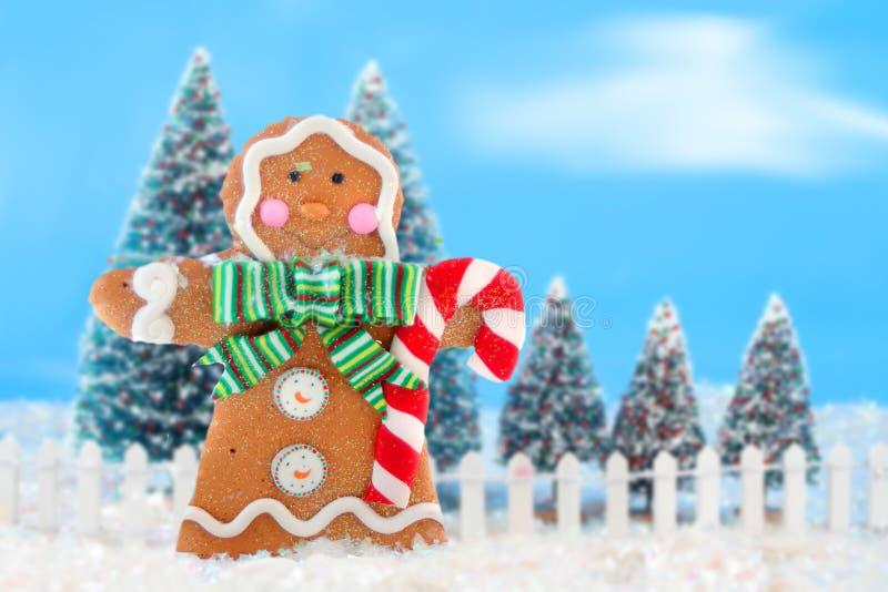 Árboles de navidad y hombre de pan de jengibre libre illustration