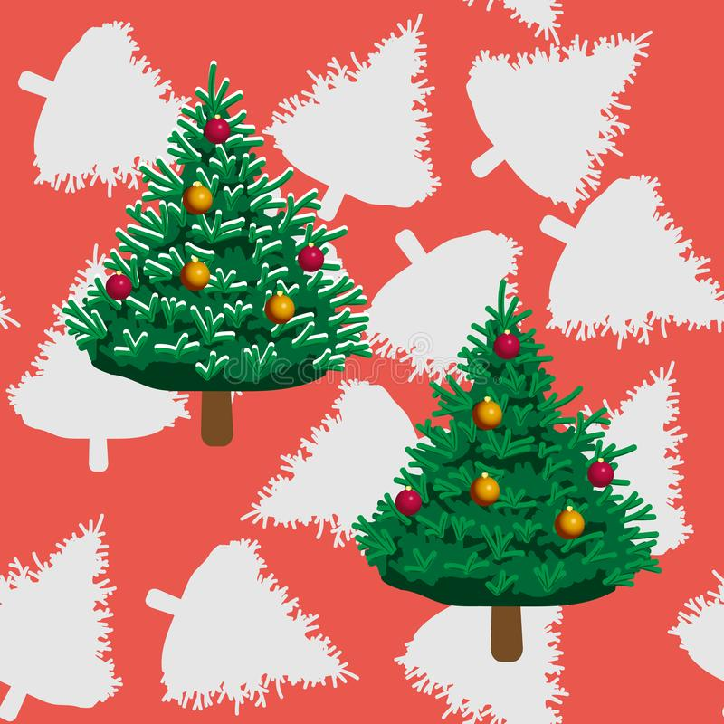 Árboles de navidad y y sus siluetas en fondo rojo ilustración del vector