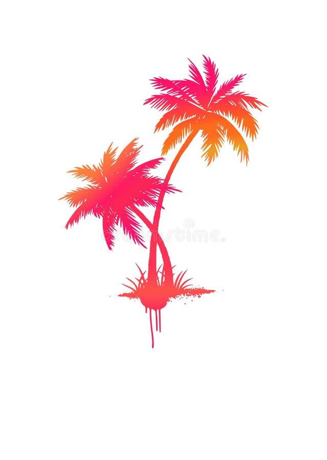 Árboles de palmas aislados grunge amarillo-rosado-anaranjado de la pendiente del vector libre illustration