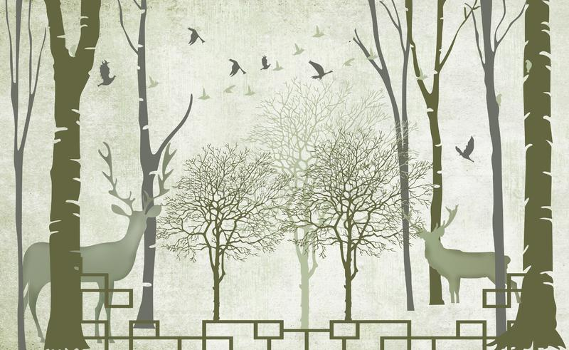 Árboles de papel mural 3d en invierno nieve con ramas y flores aves vendedoras de fondo simple y plano stock de ilustración