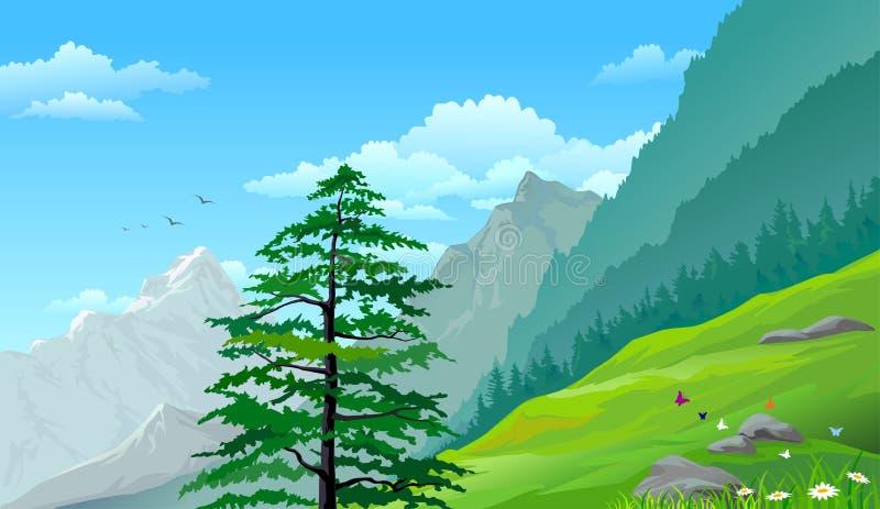 Árboles de pino de la ladera y montañas distantes libre illustration