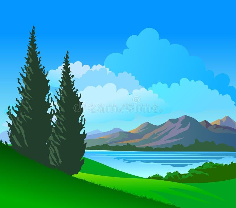Árboles de pino hermosos de la orilla entre las colinas stock de ilustración