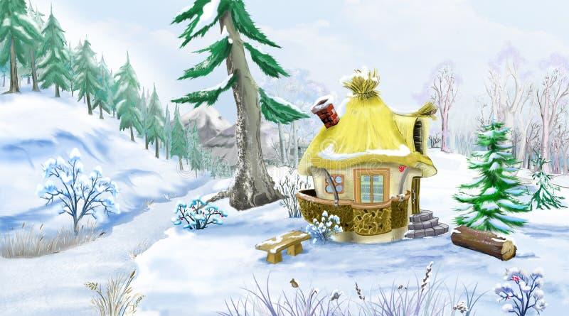 Árboles de pino verdes nevados cerca de una casa del cuento de hadas libre illustration