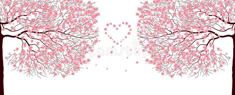 Árboles de Sakura. ilustración del vector