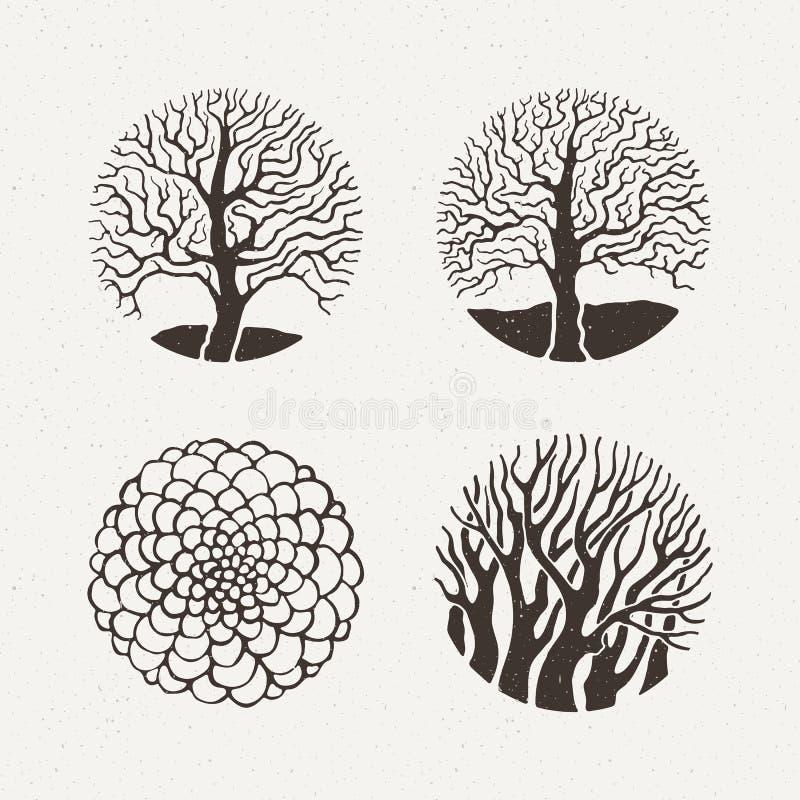Árboles del círculo fijados Ilustración del vector Figura geométrica del modelo libre illustration