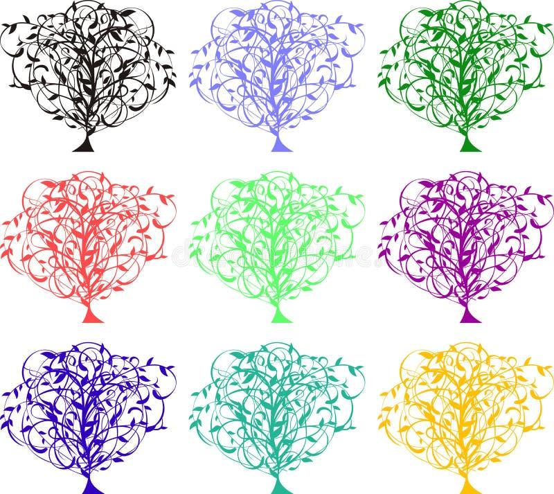 Árboles del color stock de ilustración