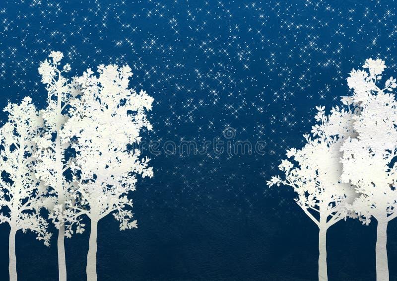 Árboles del invierno de la Navidad ilustración del vector