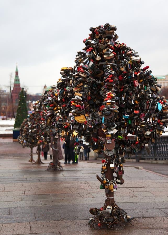 Árboles del metal del amor con los bloqueos. Moscú. Rusia. imagen de archivo