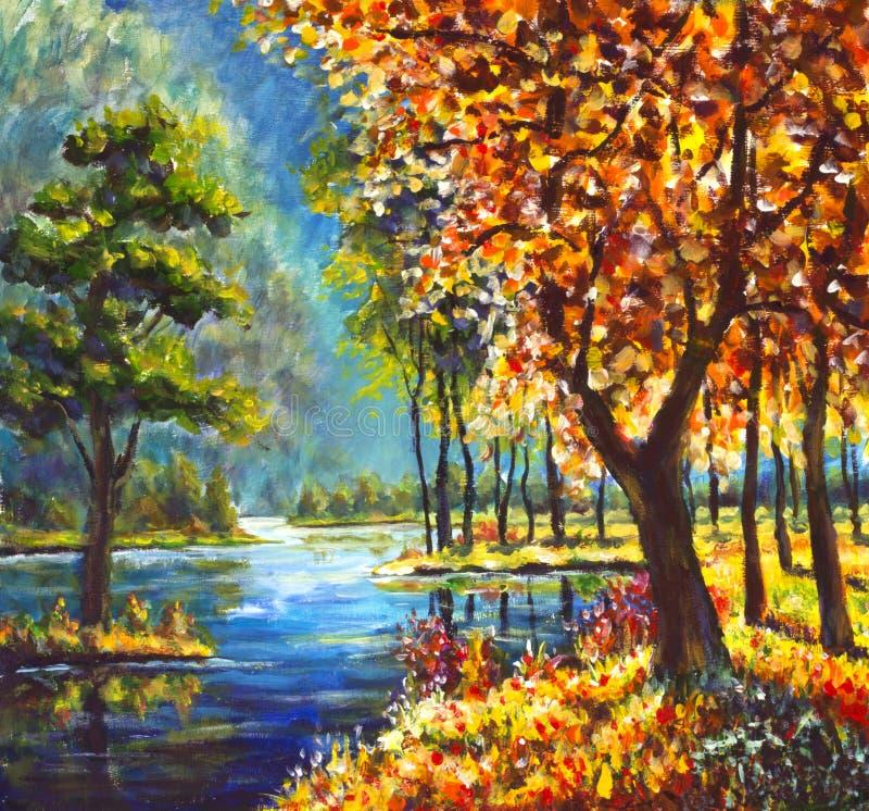 árboles del oro del otoño de la pintura al óleo y árbol de pino verde en orilla contra el contexto del río azul de la montaña ilustración del vector