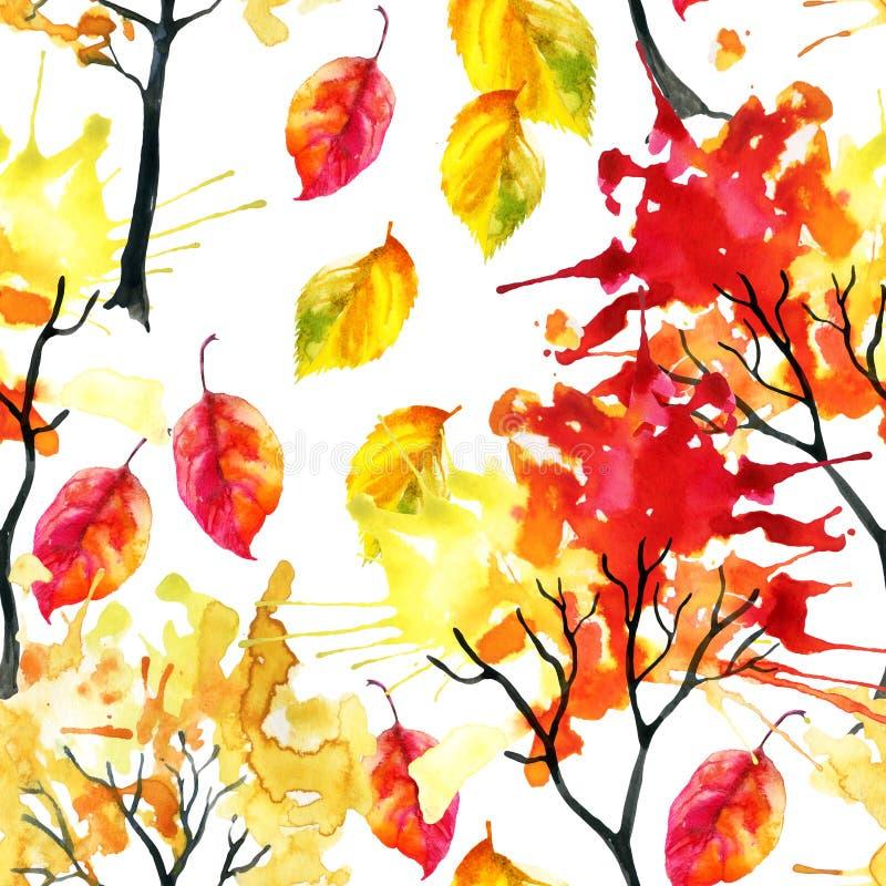 Árboles del otoño de la acuarela y modelo inconsútil de las hojas stock de ilustración