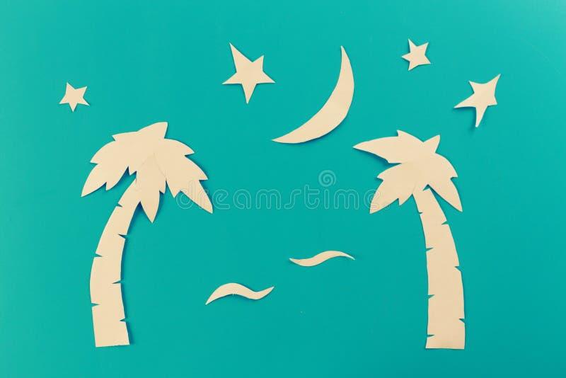 árboles del paim en la noche foto de archivo libre de regalías