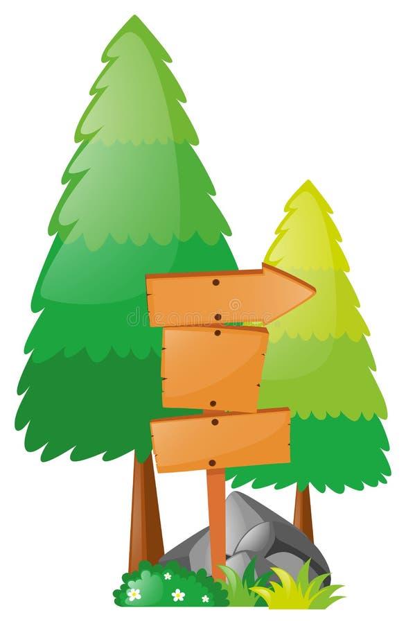 Árboles del tablero de madera y de pino ilustración del vector