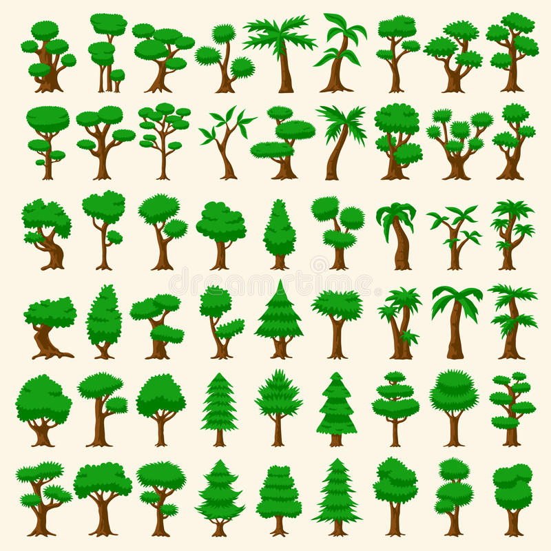 54 árboles del vector de la historieta ilustración del vector