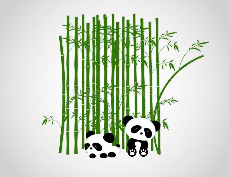 Árboles divertidos de Panda Playing In The Bamboo ilustración del vector