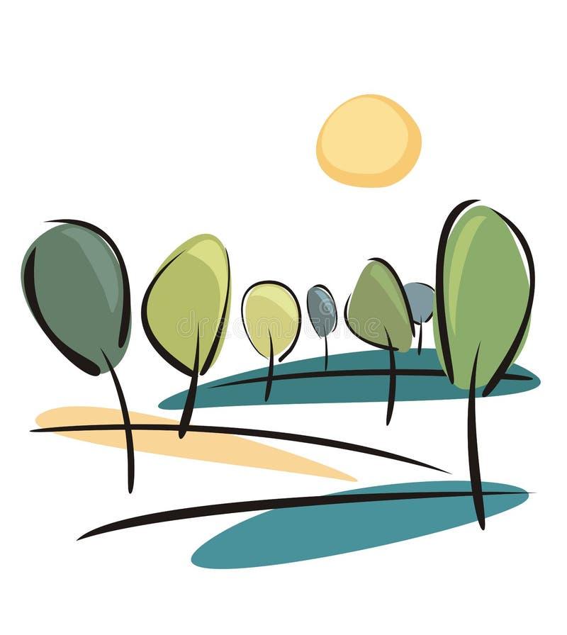 Árboles en el día de resorte asoleado ilustración del vector