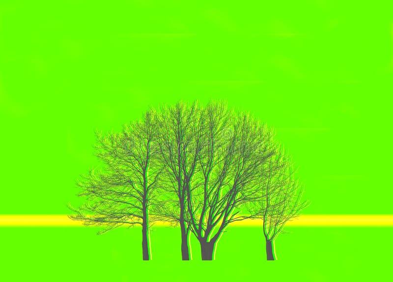 Árboles en el fondo verde ilustración del vector