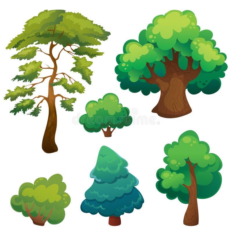 Árboles estilizados de la historieta fijados stock de ilustración