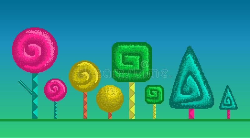Árboles estilizados del arte del pixel stock de ilustración
