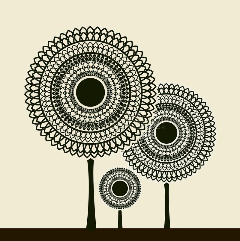 Árboles estilizados ilustración del vector