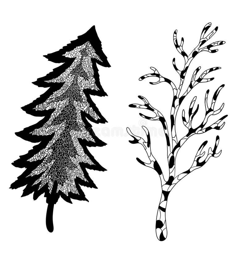 ?rboles extra?os del cord?n de mosaico del bosque L?nea a mano arte del bosque misterioso ilustración del vector