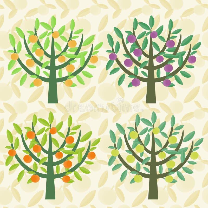 Árboles fijados ilustración del vector