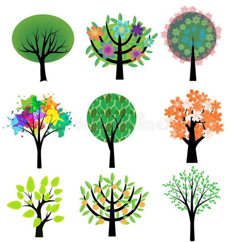 Árboles fijados stock de ilustración