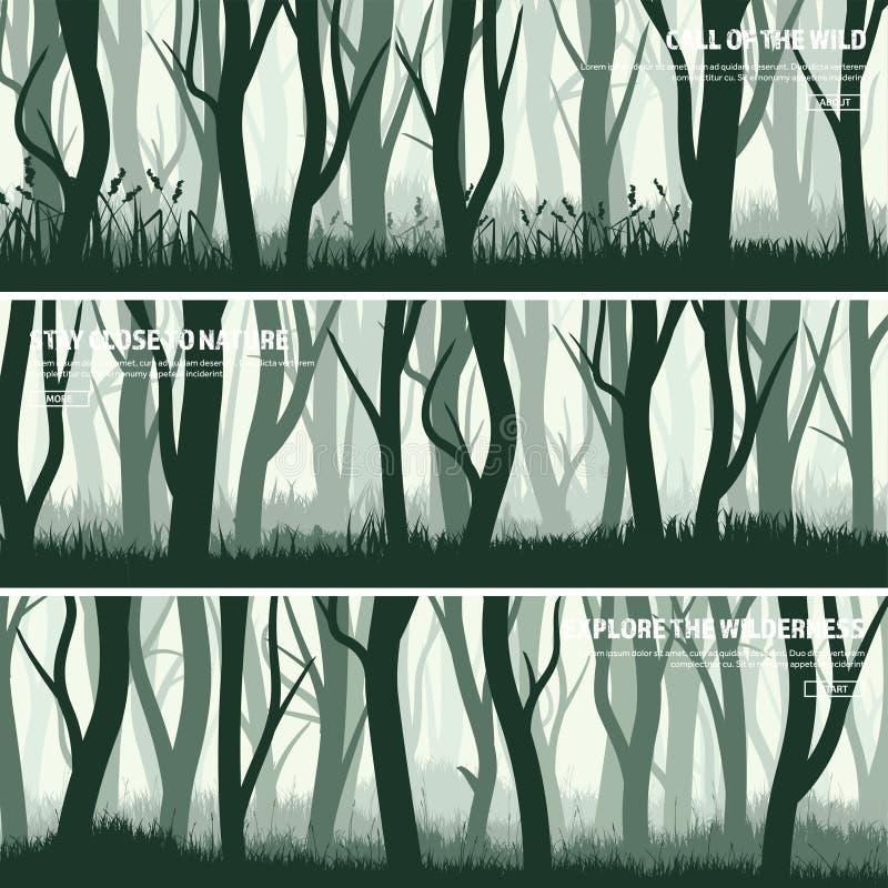 Árboles fijados Bosque salvaje del pino, bandera del fondo de la naturaleza Ilustración del vector Madera verde oscuro del árbol  ilustración del vector
