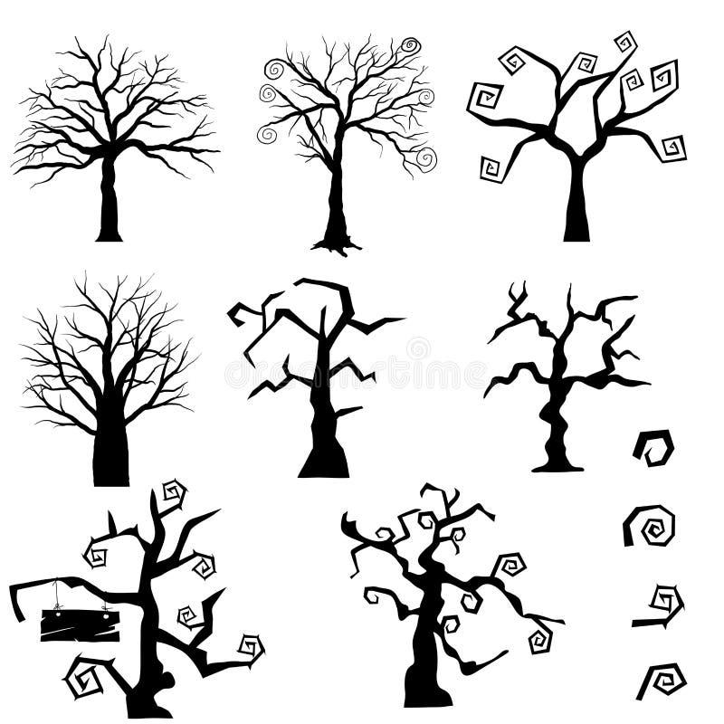 Árboles góticos fijados stock de ilustración