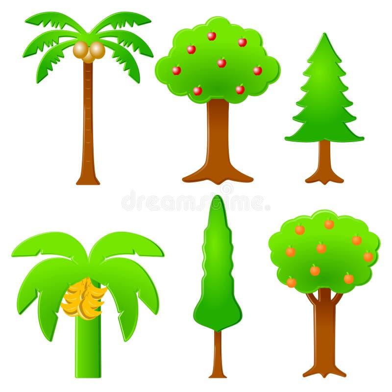 Árboles icónicos ilustración del vector