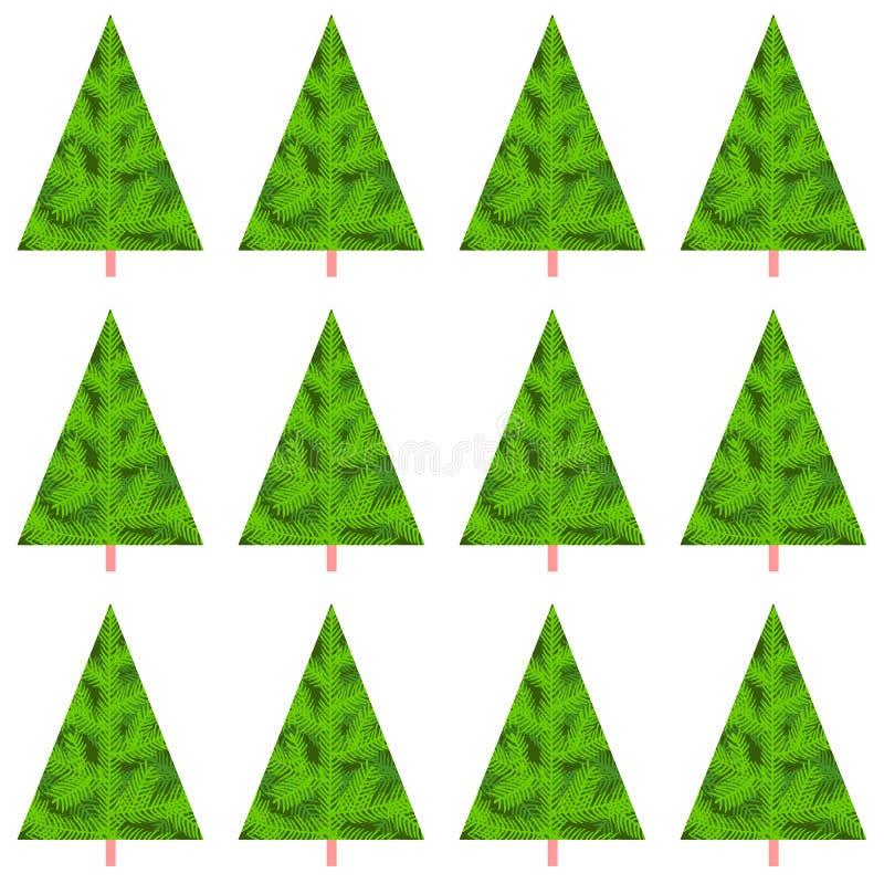 Árboles inconsútiles del Año Nuevo de la Navidad del modelo Fondo del día de fiesta de diciembre del invierno Plantilla editable  stock de ilustración