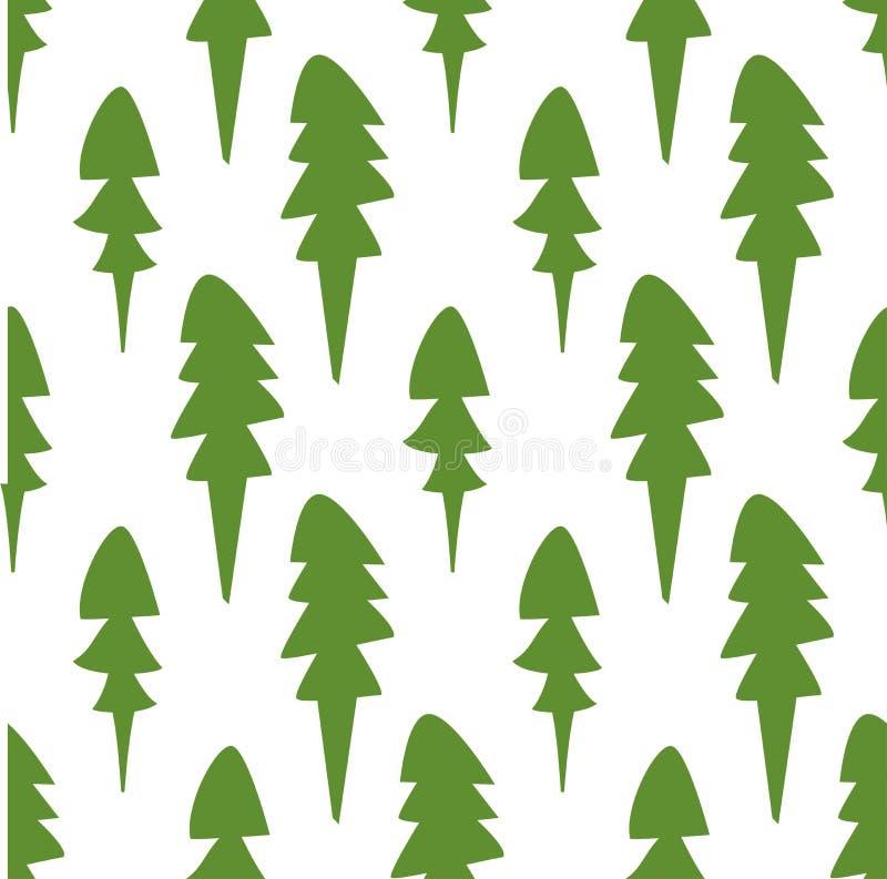 Árboles lamentables de la piel en el fondo blanco modelo inconsútil del invierno con la picea libre illustration