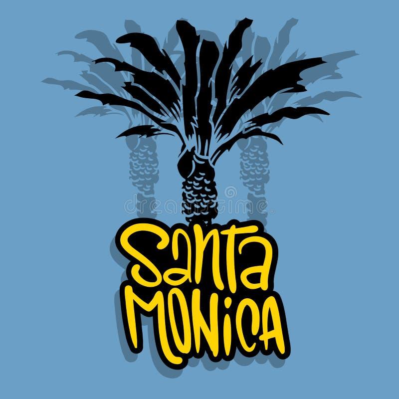 Árboles Logo Sign Label para los anuncios camiseta de la promoción o aviador Vecto de Santa Monica California Design With Palm de libre illustration