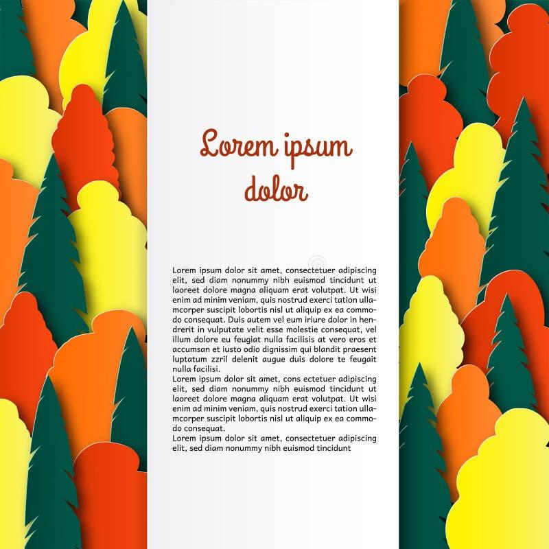 Árboles multicolores del otoño Paisaje del corte del papel Diseño acodado de folleto, invitación, aviador con el lugar para el te libre illustration