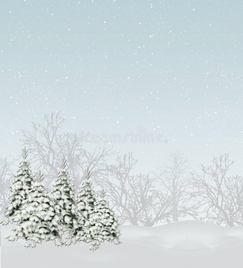 Árboles Nevado ilustración del vector