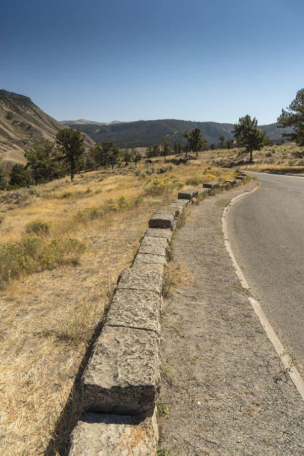 Árboles, pared e hierba en un camino de la entrada a Mammoth Hot Springs Yellowstone imágenes de archivo libres de regalías