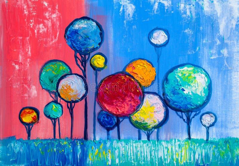 Árboles, pintura al óleo, fondo artístico stock de ilustración
