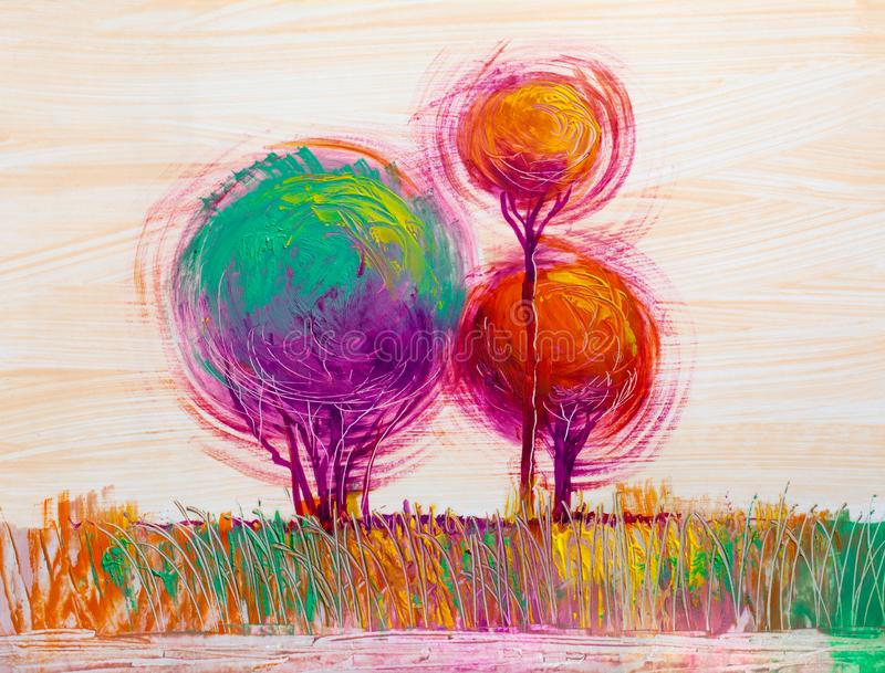 Árboles, pintura al óleo, fondo artístico libre illustration