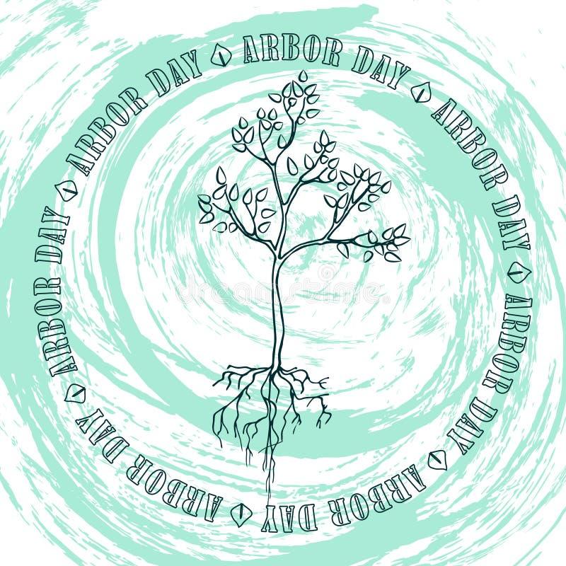 Árboles plantados día del árbol ilustración del vector