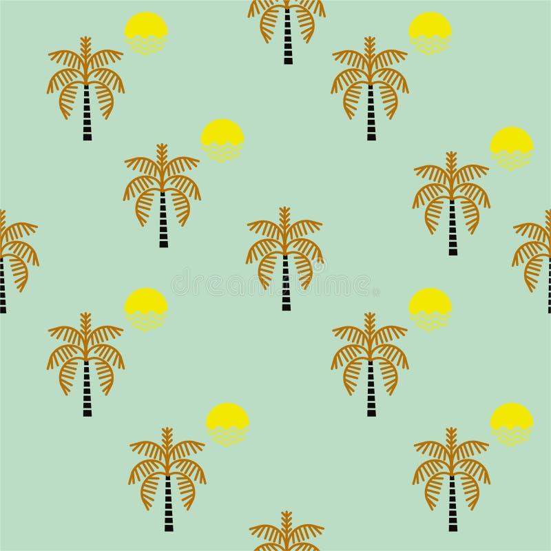 Árboles retros de Plam e icono inconsútil del modelo de la sol, diseño para la moda, tela, web, papel pintado, embalaje y todas l stock de ilustración
