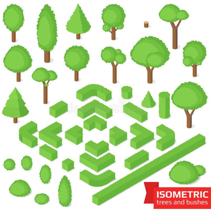 Árboles, seto y arbustos isométricos ilustración del vector