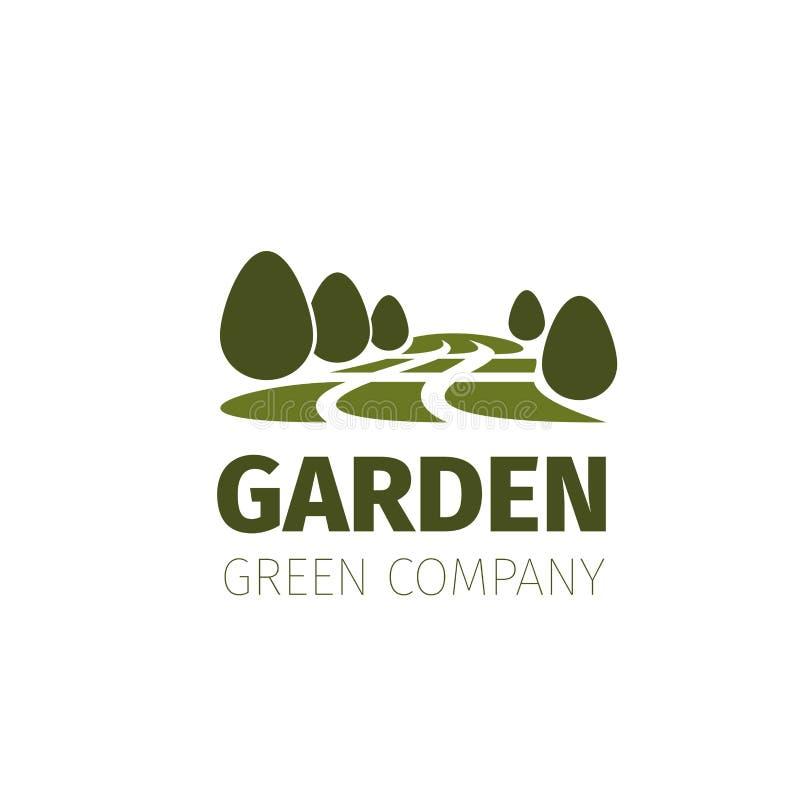Árboles verdes bosque o icono de la naturaleza del vector del jardín ilustración del vector
