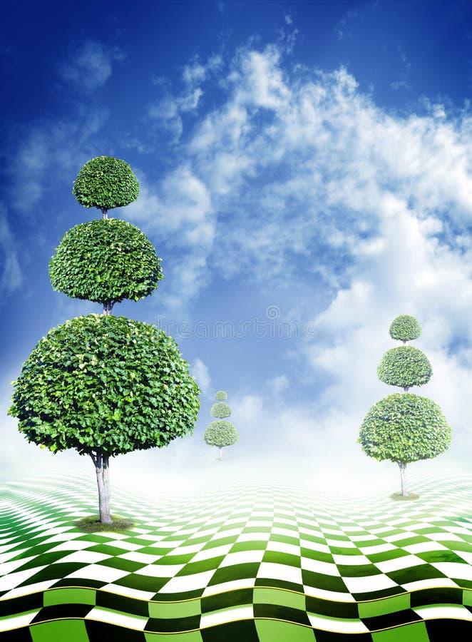 Árboles verdes, cielo azul con las nubes y piso abstracto del tablero de damas de la fantasía fotografía de archivo