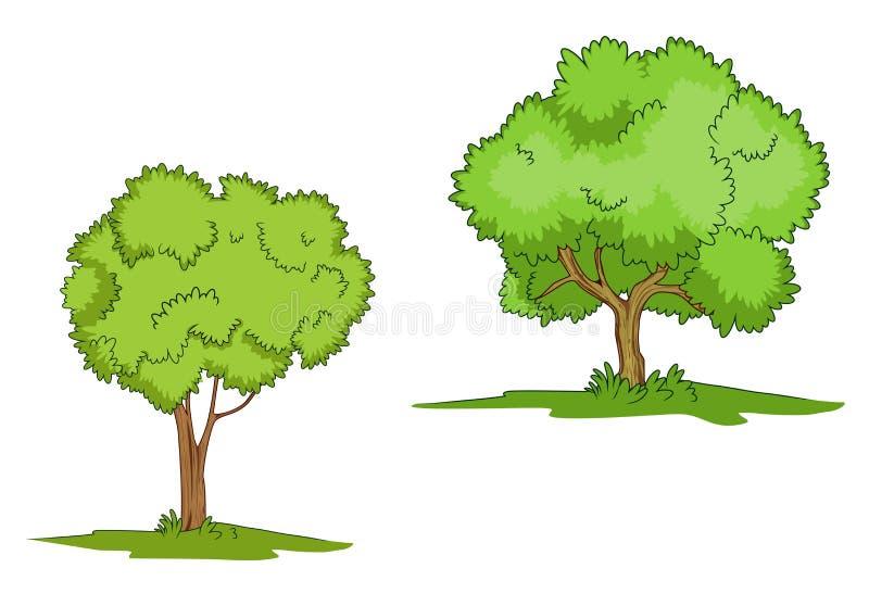 Árboles verdes con la hierba stock de ilustración