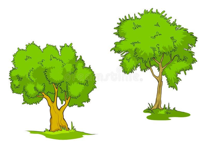 Árboles verdes de la historieta ilustración del vector