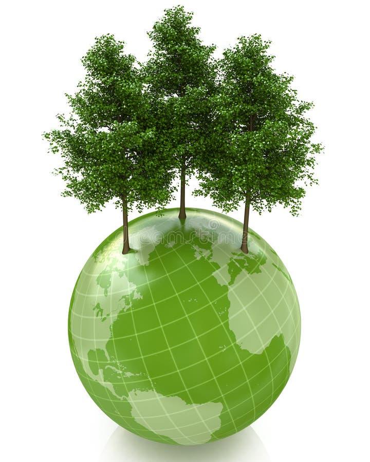 Árboles verdes en el pequeño planeta stock de ilustración