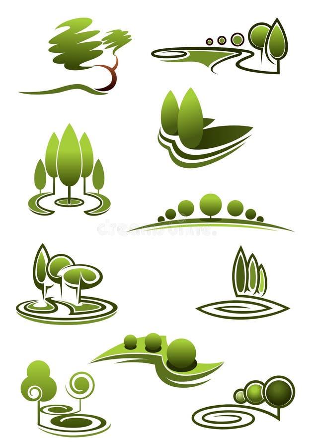 Árboles verdes en iconos de los paisajes stock de ilustración