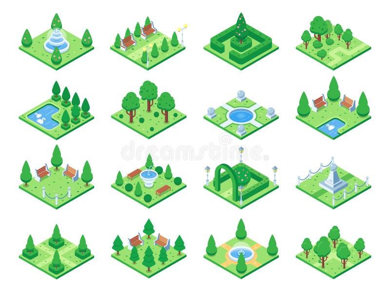 Árboles verdes isométricos del parque o del jardín Fuente y arbustos, bancos y charca elementos isométricos del vector del mapa d ilustración del vector