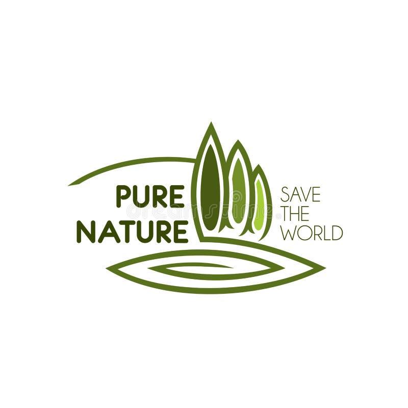 Árboles verdes que ajardinan el icono del vector de la naturaleza del eco stock de ilustración