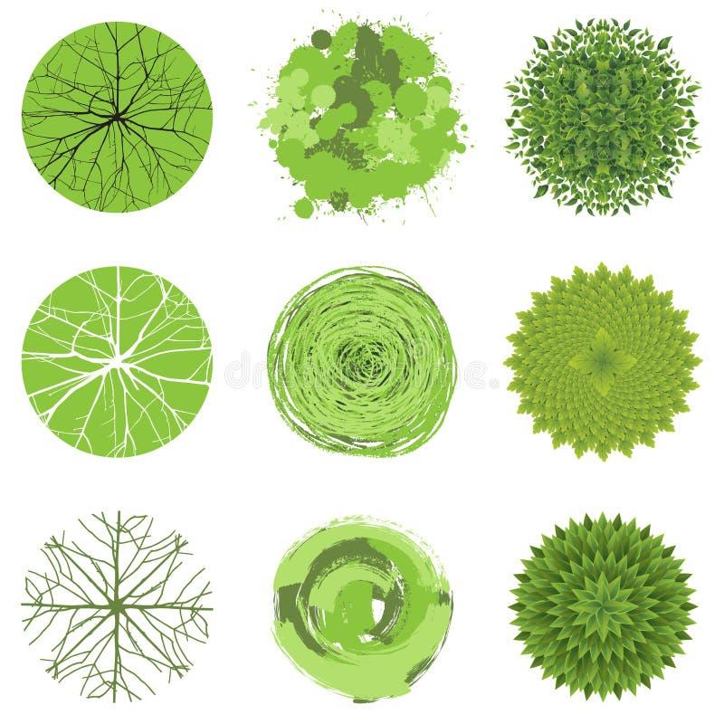 Árboles - visión superior ilustración del vector